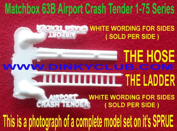 MATCHBOX 1-75 SERIES TOY PARTS 63B Airport Crash Tender White Plastic Hose